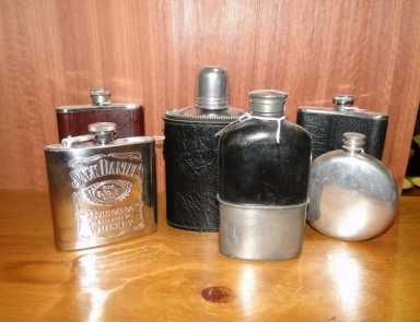 A sellection of hip flasks